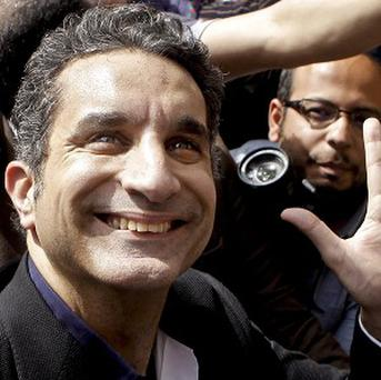 Egyptian television satirist Bassem Youssef. His satirical TV show was taken off the air.