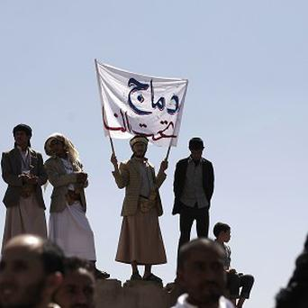 Supporters of an Islamic Salafi movement take part in a demonstration to denounce shelling in Saada province