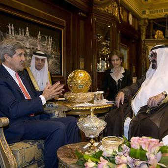 US secretary of state John Kerry meets with Saudi Arabia's King Abdullah in Riyadh (AP)