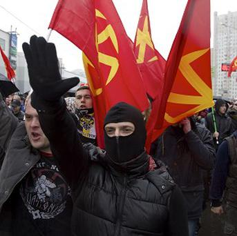 Nationalist demonstrators during a march in Moscow (AP Photo/Ivan Sekretarev)