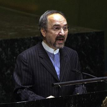 Iran's UN ambassador Mohammad Khazaee spoke at a meeting of the UN General Assembly's disarmament committee (AP)