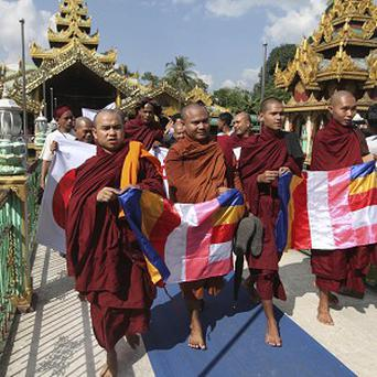 Buddhist monks protest in Yangon, Burma (AP)