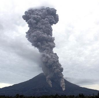 Mount Sinabung in North Sumatra, Indonesia