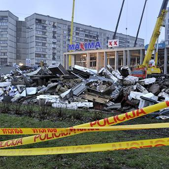 Debris which was removed by rescue teams during a search for victims at the Maxima supermarket in Riga, Latvia (AP)