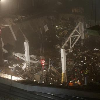 The collapsed Maxima supermarket in Riga, Latvia (AP)