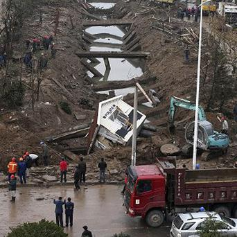 The site of a pipeline explosion in Qingdao in east China's Shandong province (AP)