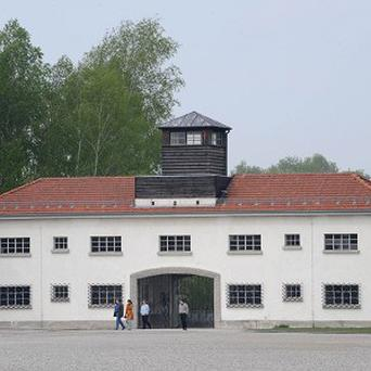 The entrance building of the former Nazi concentration camp in Dachau near Munich (AP)