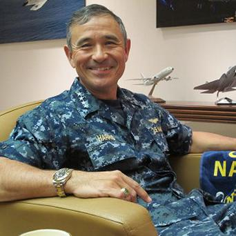US Pacific Fleet commander Admiral Harry B Harris Jr. One of his vessels was in a near collision with a Chinese warship. (AP)