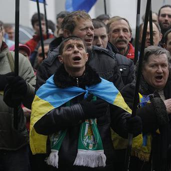 Pro-European Union activists at an anti-government protest in Kiev (AP)