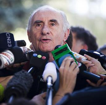 Former Argentine President Fernando de la Rua speaks to the media outside Argentina's Federal Court in Buenos Aires, Argentina (AP)