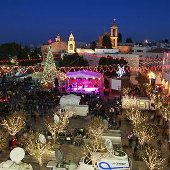 Manger Square, outside the Church of the Nativity, traditionally believed by Christians to be the birthplace of Jesus Christ, in the West Bank town of Bethlehem (AP)