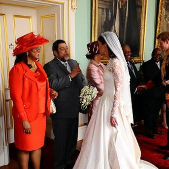 A cousin of St Vincent and the Grenadines Prime Minister Ralph Gonsalves, seen here with his wife Eloise meeting the Duchess of Cambridge at a reception at Buckingham Palace, died on Tuesday night when a landslide crashed through his house.