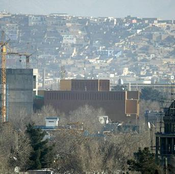 The US Embassy in Kabul after it was hit by rocket fire before dawn on Christmas Day (AP)