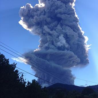 The Chaparrastique volcano has erupted in El Salvador, with an amber alert being issued and evacuations from nearby villages (AP)