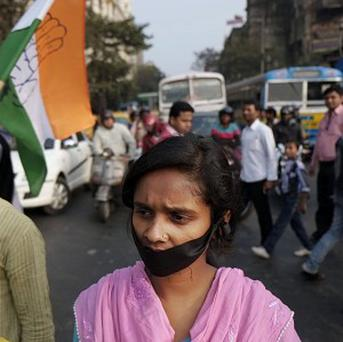 Activists protest in Calcutta (AP Photo/Bikas Das)