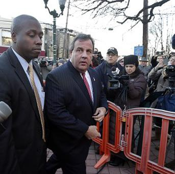 New Jersey Governor Chris Christie, second left, arrives at Fort Lee to apologise to Mayor Mark Sokolich.