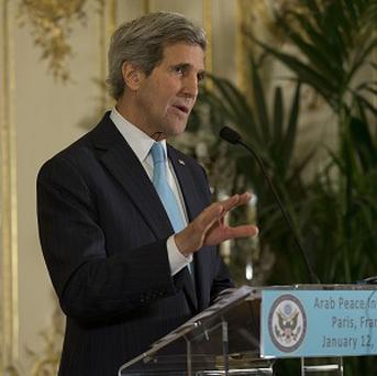 US Secretary of State John Kerry speaks at a Paris meeting to rally international support for ending the civil war in Syria. (AP)