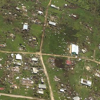 The damage to Ha'apai island group, in Tonga, following Cyclone Ian (AP/Royal New Zealand Air Force)