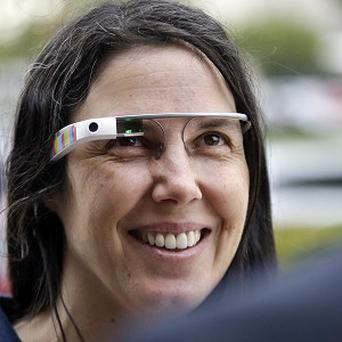 Cecilia Abadie wears her Google Glass device outside the traffic court in San Diego (AP)