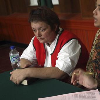 Andrea Waldeck at her trial hearing at Surabaya District Court, Indonesia