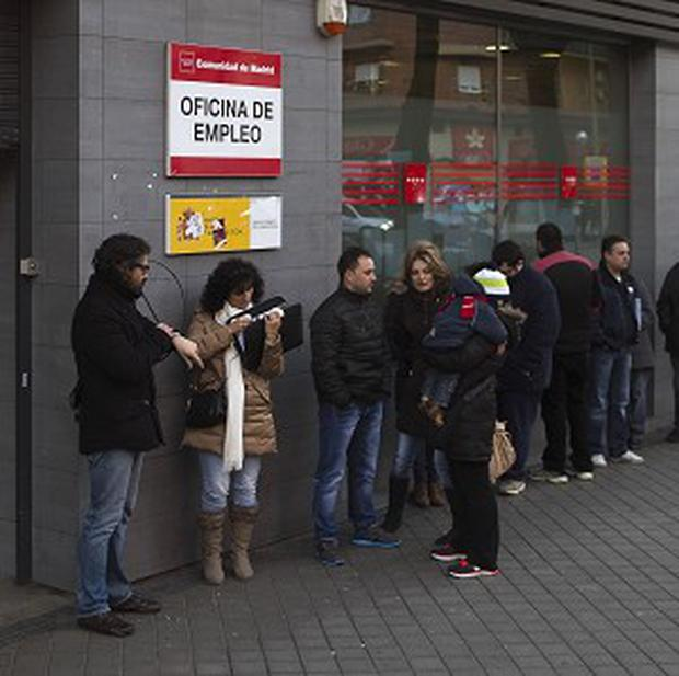 Spain's unemployment rate edged up slightly for the fourth quarter of last year (AP)