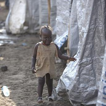 A young girl at a United Nations compound in South Sudan