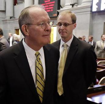 Lamar Alexander, left, with his then chief of staff Ryan Loskarn (AP)
