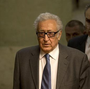 UN mediator Lakhdar Brahimi, arrives for a press briefing at the United Nations headquarters in Geneva, Switzerland (AP Photo/Anja Niedringhaus)