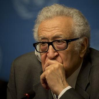 UN mediator Lakhdar Brahimi at a press briefing at the United Nations headquarters in Geneva (AP)