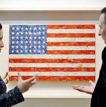 Jasper Johns' Flag painting on display at Christie's in London