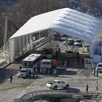 A security checkpoint at Sochi. The US is banning liquids from hand luggage on flights to Russia (AP)