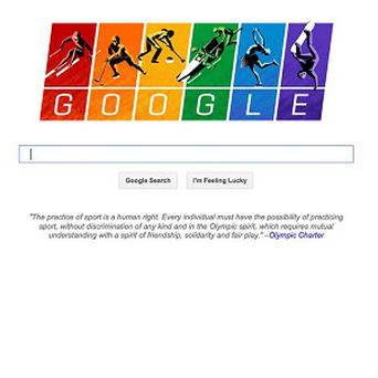 Google has become the latest US company speaking out against Russia's law restricting gay-rights activities by updating its search page logo to depict illustrations of athletes against a rainbow-coloured backdrop (Google.com/AP)
