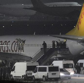 Passengers of private Turkish company Pegasus leave the plane at the Sabiha Gokcen Airport in Istanbul