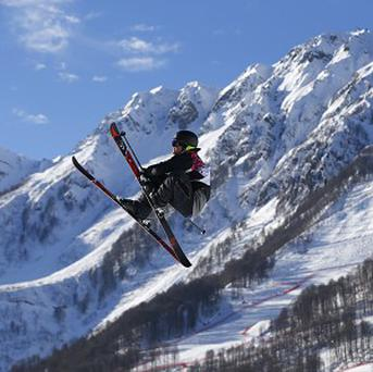 New Zealand's Josiah Wells competes in the men's ski slope style qualifying at the Rosa Khutor Extreme Park, at the 2014 Winter Olympics, Thursday, Feb. 13, 2014, in Krasnaya Polyana, Solchi (AP)