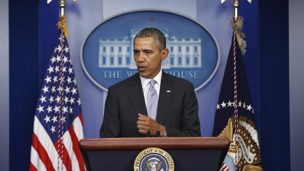 US President Barack Obama speaks about Ukraine in the James Brady Press Briefing Room at the White House (AP)
