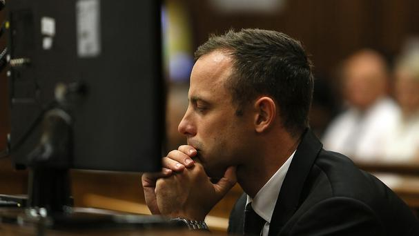 Oscar Pistorius during his murder trail in Pretoria (AP)