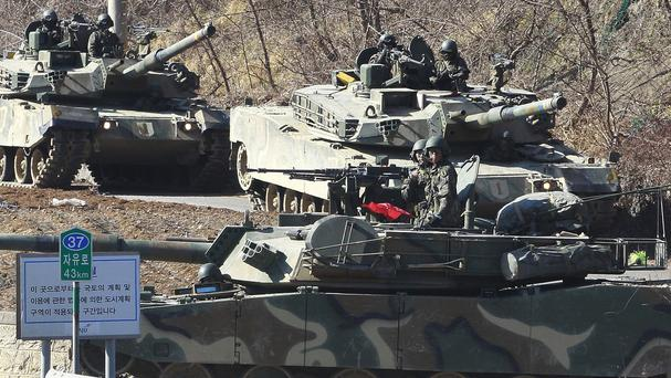 South Korean army tanks move during a military exercise in Paju near the border with North Korea (AP)