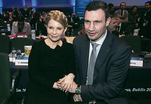 Ukrainian opposition leaders Yulia Tymoshenko and Vitali Klitschko in Dublin yesterday