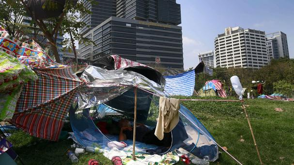 The anti-government protest camp at Lumpini Park, Bangkok (AP)