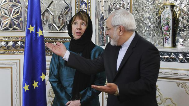 Iranian foreign minister Mohammad Javad Zarif held talks with EU foreign policy chief Catherine Ashton. (AP Photo/Vahid Salemi)