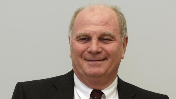 Bayern Munich player Uli Hoeness is on trial over tax evasion (AP)