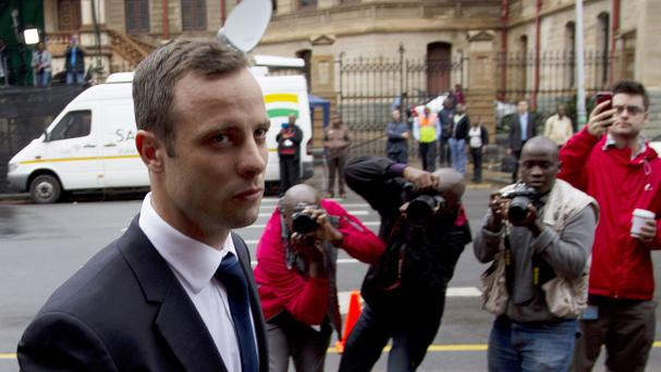 Oscar Pistorius arrives at the high court in Pretoria (AP)