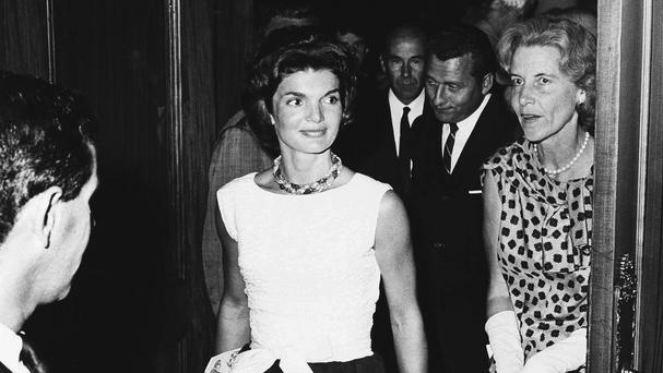 Jacqueline Kennedy and Bunny Mellon pictured in 1961 at the Colonial Theatre in Boston during the interval of Noel Coward's musical Sail Away (AP)