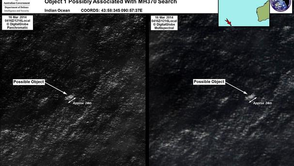 Satellite images of the possible objects.(AP/DigitalGlobe via the Australian Maritime Safety Authority)