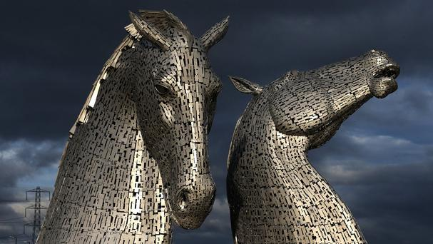 A scaled down version of The Kelpies, at the Helix, Falkirk, are on display in New York City