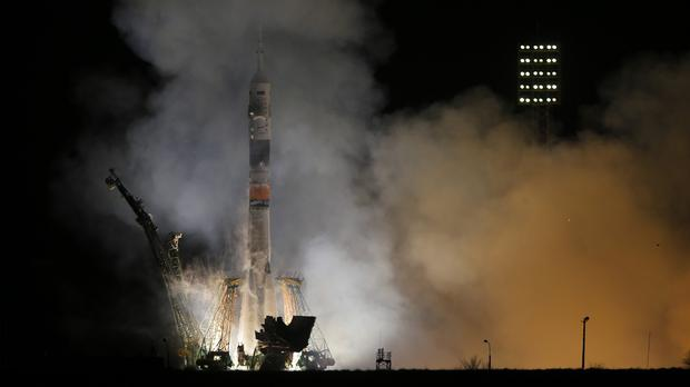 The Soyuz rocket blasts off on its way to the International Space Station (AP)