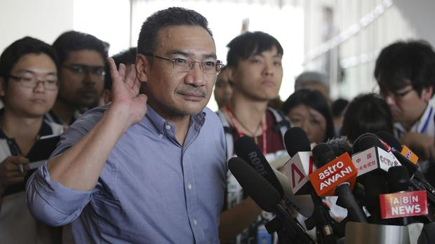Malaysia's acting Transport Minister Hishammuddin Hussein after meeting with relatives of passengers on board the missing Malaysia Airlines flight MH370 (AP)