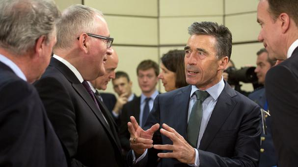 Nato chief Anders Fogh Rasmussen at a meeting of the North Atlantic Council in Brussels (AP)