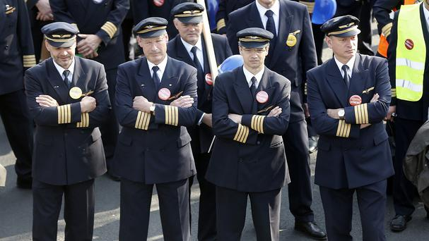 Lufthansa pilots gather for a rally as they went on a three-day strike in Germany. (AP)