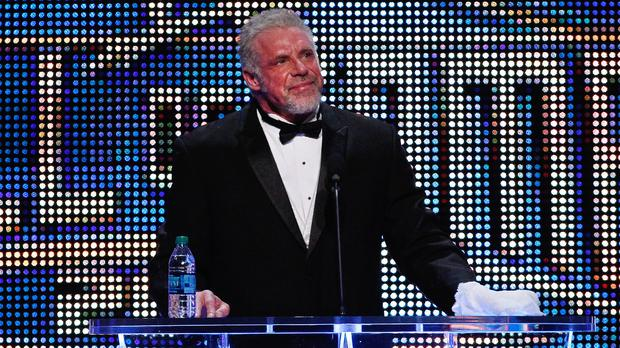 The Ultimate Warrior speaks during the WWE Hall of Fame Induction at the Smoothie King Centre in New Orleans on Saturday April 5 (Jonathan Bachman/AP Images for WWE)